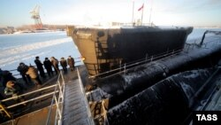 """Russia's new nuclear-powered ballistic missile submarine the """"Yury Dolgoruky"""" at Sevmash shipyard in Severodvinsk (file photo)"""