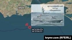 Координаты точки, из которой катер «Бердянск» подал сигнал SOS