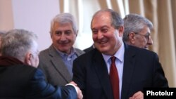 Armenia - Former Prime Minister Armen Sarkissian meets with members of the National Academy of Sciences in Yerevan, 30 January 2018.