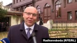Спикер Верховной Рады Андрей Парубий дает интервью после церемонии подписания томоса для Православной церкви Украины