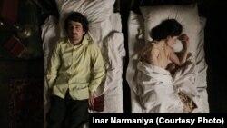 Кадр из фильма «Меня зовут Махаз», в роли главных героев – Инал Инапха и Нина Начкебия
