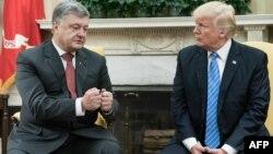 Президент України Петро Порошенко і президент США Дональд Трамп під час зустрічі у Вашингтоні, 20 червня 2017 року