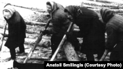 Спецпереселенки на сплаве бревен, 1959