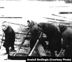 Узницы одного из сталинских лагерей на сплаве бревен. 1950-е годы