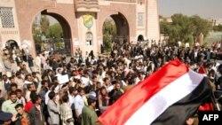 Участники оппозиционной демонстрации в Сане (Йемен)