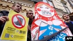 Під час акції в центрі Києва, 9 квітня 2014 року