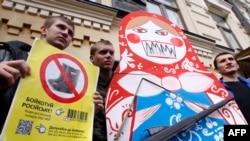O demonstrație astăzi la Kiev...
