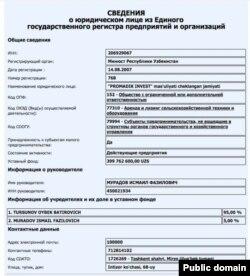 Promadik Invest акцияларининг 95 фоизи Ойбек Турсуновникидир.