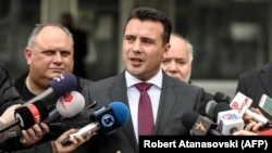 Macedonian Prime Minister Zoran Zaev speaks to the press in front of the Skopje court on March 6.