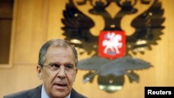Russia -- Foreign Minister Sergei Lavrov speaks during a news conference on the situation in Syria, at the Foreign Ministry headquarters in Moscow, 16Jul2012
