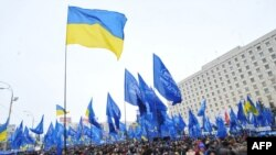 Ուկրաինա – Ուկրաինայի Ռեգիոնների կուսակցության առաջնորդ Վիկտոր Յանուկովիչի աջակիցները հավաքվում են Կենտրոնական ընտրական հանձնաժողովի առջեւ Կիեւում, 8-ը փետրվարի, 2010 թ.