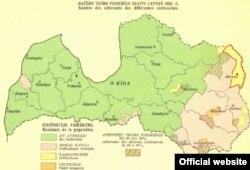 Карта Латвії 1935 року, коли територія під назвою Абрене належала цій державі