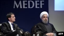Иран лидери менен француз өкмөт башчысы Мануэль Вальс менен. 28-январь, 2016
