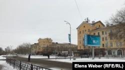 Саран қаласындағы үйлер. Қарағанды облысы, қаңтар, 2019 жыл.