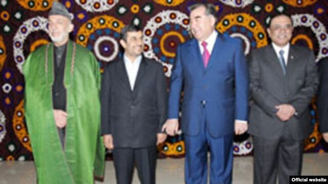 Afghan and Tajik Presidents Hamid Karzai (left) and Emomali Rahmon (2nd right) will mark Norouz in Ashgabat with Iranian and Pakistani counterparts Mahmud Ahmadinejad (2nd left) and Asif Ali Zardari.