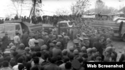 Так называемый марш мира был остановлен небольшой группой местных добровольцев, которые организовали живую цепь и перекрыли дорогу в город