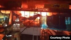 Пожар на рынке в Актобе. 9 мая 2019 года.