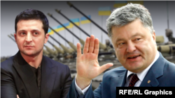 (Ukrainian Presidential runoff election opponents (l-r) Volodymyr Zelenskiy and Petro Poroshenko