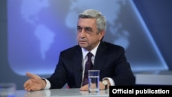 Armenia - President Serzh Sarkisian is interviewed by Armenian Public Television, Yerevan, 17Jun2014.