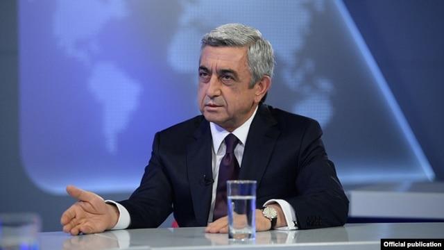 Armenia - President Serzh Sarkisian is interviewed by Armenian Public Television, Yerevan, 17Jun2014.