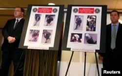 Фотографии подозреваемых Тамерлана и Джохара Царнаевых на пресс-конференции представителей ФБР в Бостоне. 18 апреля 2013 года.