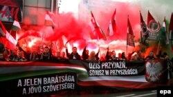 """Варшава. Польские и венгерские националисты участвуют в демонстрации 11 ноября под лозунгом """"Сегодня дружба, в будущем – союз"""""""