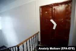 The door to Oleg Sokolov's apartment in St. Petersburg