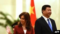 Cristina Kirchner gjatë takimit me presidentin kinez, Xi Jinping në Pekin