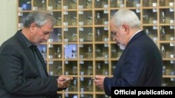 Foreign Minister Mohammad Javad Zarif and Iranian government spokesman Ali Rabiei. May 11, 2020