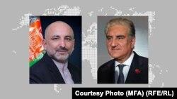 محمد حنیف اتمر (راست) وزیر خارجه افغانستان و شاه محمود قریشی، وزیر خارجه پاکستان