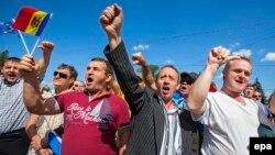 Մոլդովացի ցուցարարները հավաքվել են երկրի խորհրդարանի մոտ, Քիշնև, 7-ը սեպտեմբերի, 2015թ.