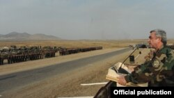 Nagorno-Karabakh - Armenian President Serzh Sarkisian addresses troops holding military exercises, 23Oct2012.