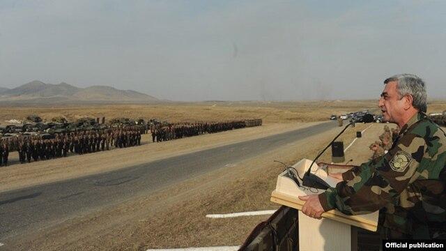 Nagorno-Karabakh - Armenian President Serzh Sarkisian addresses troops holding military exercises, 23Oct2012.