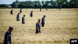 Сотрудники Службы по чревзычайным ситуациям Украины ведут поиск фрагментов тел погибших в районе падения рейса MH17, 26 июля 2014 года.