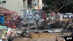 Нигерияның солтүстігіндегі Кадуна қаласында жарылыс болған орын. 23 шілде 2014 жыл.