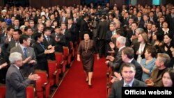 Roza Otunbaeva attends the inauguration of Almazbek Atambaev as her successor as Kyrgyz president on December 1 in the country's first peaceful transition of power.