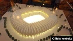 """""""Bunyodkor"""" futbol klubi saytida e'lon qilinang stadion maketi."""