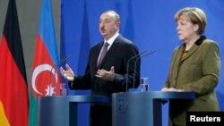 Գերմանիայի կանցլեր Անգելա Մերկելի և Ադրբեջանի նախագահ Իլհամ Ալիևի համատեղ ասուլիսը Բեռլինում, 21-ը հունվարի, 2015թ․