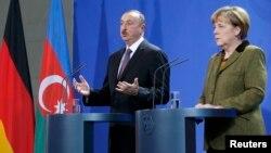 Գերմանիայի կանցլեր Անգելա Մերկելի և Ադրբեջանի նախագահ Իլհամ Ալիևի համատեղ ասուլիսը Բեռլինում, 21-ը հունվարի, 2015թ.