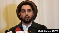 Ahmad Masud speaks at a press conference in Kabul in February 2020.