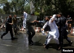 "Protesters say Ghani's ""illegitimate"" government must resign because it has failed its people."