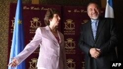 Кэтрин Эштон и Авигдор Либерман на переговорах в Иерусалиме