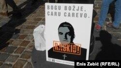 Detalj sa prosvjeda u Zagrebu