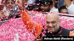 Ministar unutrašnjih poslova Indije Amit Šah na proslavi posle izbora, Nju Delhi, maj 2019.