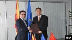 Средба на Вицепремиерот Фатмир Бесими со амбасадорот на Кина во Скопје Цуи Живеи