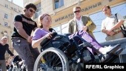"""Акция """"Почувствуй себя инвалидом"""" в Москве, июль 2009 года."""
