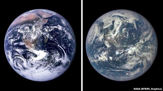تصویر جدید از سیاره زمین (سمت راست) - تصویری که سال ۱۹۷۲ ثبت شد (سمت چپ)