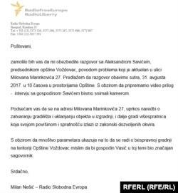Predsednik opštine Aleksandar Savić 'ovih dana' nije imao vremena za razgovor sa RSE