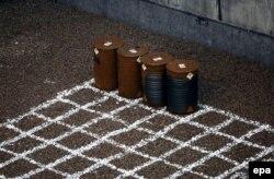 Контейнери з радіоактивними речовинами у сховищі на ЧАЕС