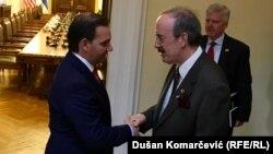 Kongresisti Eliot Engel gjatë takimit me nënkryetarin e Kuvendit të Serbisë Vladimir Marinkoviq